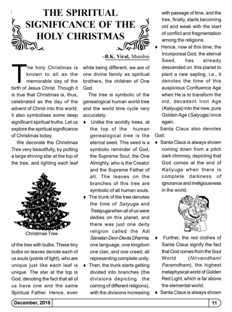 Spiritual Significance of Christmas article - Page 1/2