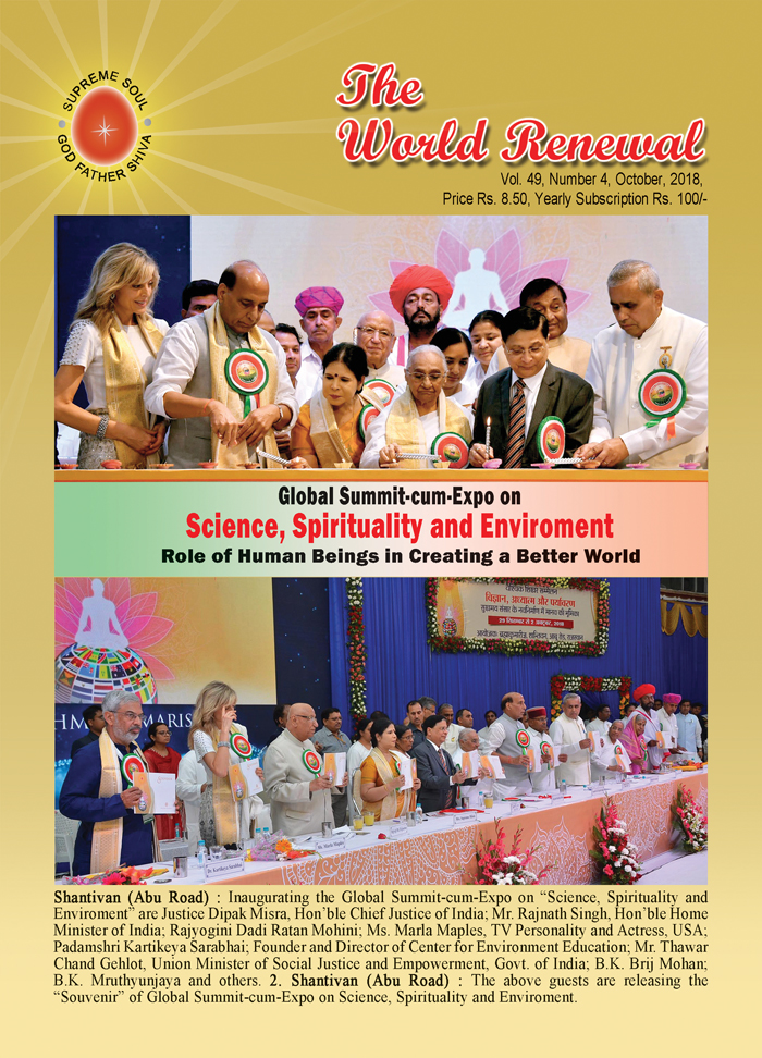 Cover Picture of October 2018 issue of 'The World Renewal'