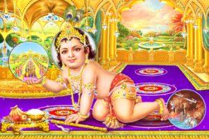 Picture of Lord Krishna looking at Satyuga and kicking Kaliyuga